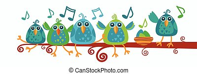 Group Of Birds Sitting On Branch With Music Notes