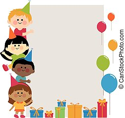Group of birthday party kids holding vertical blank banner
