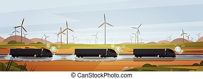 Group Of Black Cargo Truck With Trailers Driving On Countryside Road Over Nature Landscape Horizontal Banner