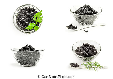 Group of black caviar on a white background cutout