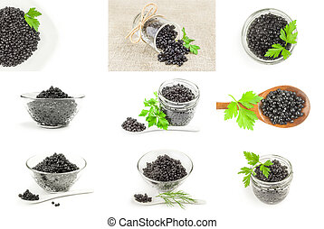 Group of black caviar on a white background