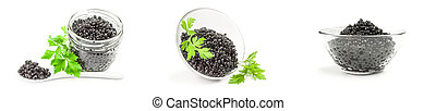 Group of black fish eggs on a isolated white background