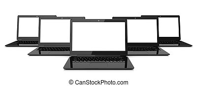 Group of black laptops