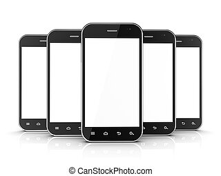 Group of black smartphones