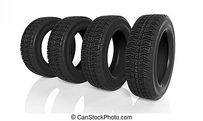 Group of black tires isolated on white background
