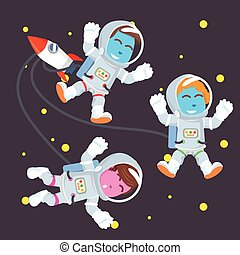 Group of blue astronaut in space