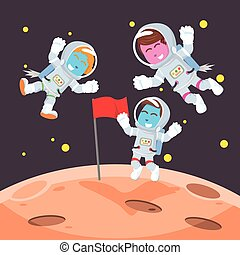 Group of blue astronaut putting flag on moon