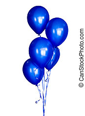 Group of blue balloons isolated on white