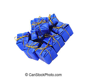 group of blue gifts on white background