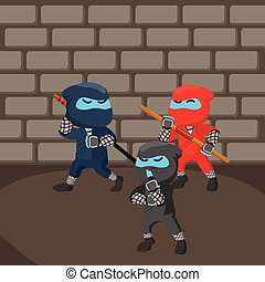 Group of blue ninja sneaking in dungeon