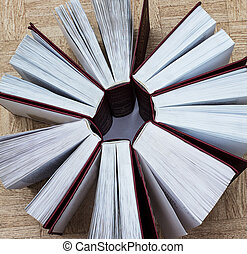 Group of books, top view