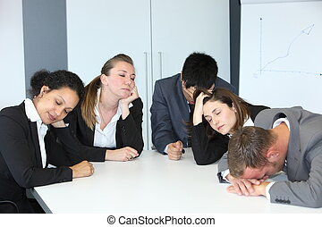 Group of bored demotivated businespeople - Group of diverse...