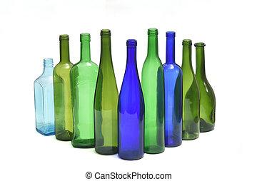 group of bottle on white background