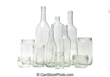 group of bottles on white background