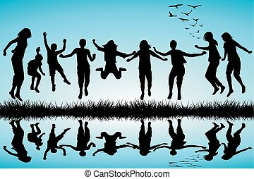Group of boys and girls jumping outdoor