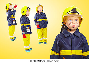 Group of boys in fireman costume
