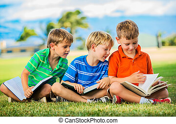 Group of Boys Reading - Happy Kids, Group of Young Boys...