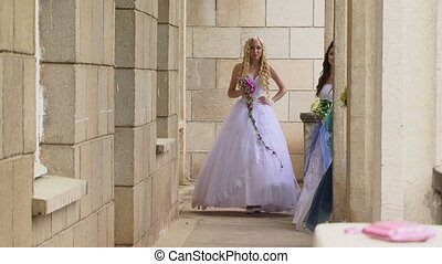 Group of brides at the castle