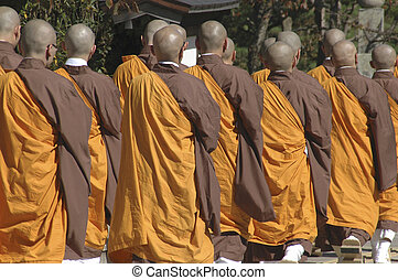 Group of Buddhist monks in Japan