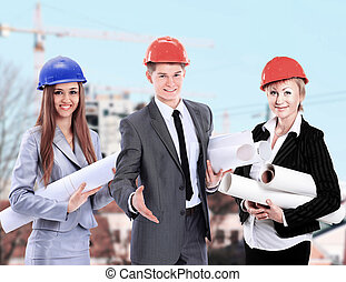 Group of builders workers