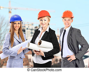 Group of builders workers.