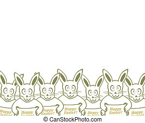 Group of Bunnies with Happy Easter Text Banner Drawing