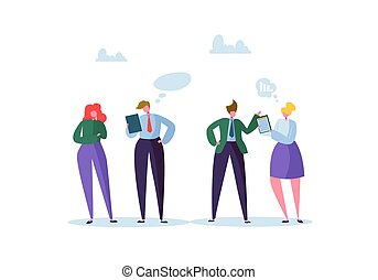 Group of Business Characters Chatting. Office People Team Communication Concept. Social Marketing Man and Woman Talking. Vector illustration
