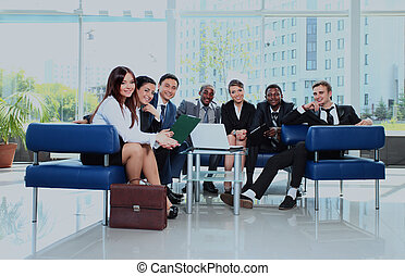Group of business colleague in a meeting together at office.