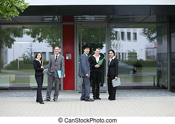 Group of business colleagues outside the office