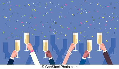 Group Of Business Man Hands Holding Champagne Glasses Success Celebration Concept