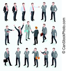 Group of business man isometric design. Vector illustrations.
