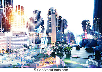 Group of business partner looking for the future. Concept of corporate and startup. double exposure