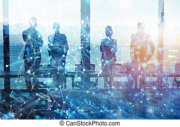 Group of business partner looking for the future with network digital effect
