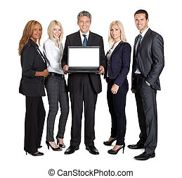 Group of business people advertising a new laptop