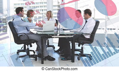 Group of business people and data