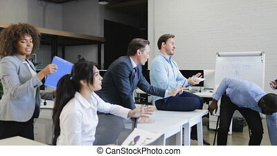 Group Of Business People Angry On Businessman Boss Failure, Team Have Problem Teamwork Crisis Working Together On Meeting