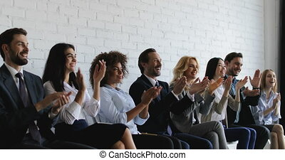 Group Of Business People Applauding At Conference Meeting, Seminar Listeners Greeting Speaker Clapping Hands In Office