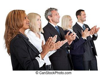 Group of business people applauding on white