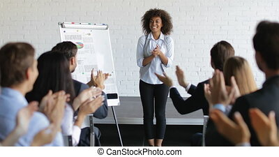 Group Of Business People Applauding Congradulating Happy...