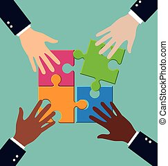 Group of business people assembling puzzle with teamwork, solution and success concept