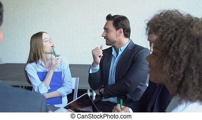 Group Of Business People Brainstorming Meeting Successful...