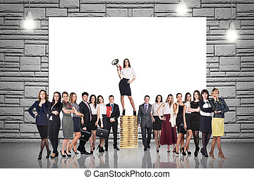 Group of business people. Businessman with megaphone stands on a stack of coins