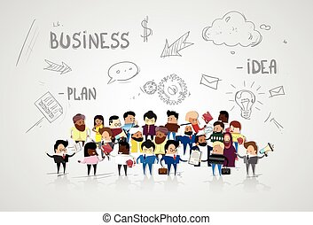 Group of Business People Cartoon Mix Race Businesspeople Over Abstract Sketch Background