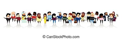 Group of Business People Cartoon Mix Race Businesspeople Set Illustration