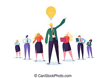 Group of Business People Characters with Leader. Teamwork and Leadership Concept. Successful Businessman with Idea Light Bulb Stand Out in Front of Flat People. Vector illustration
