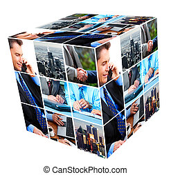 Group of business people collage. - Group of business...