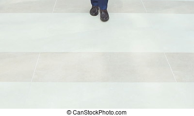 Group of business people come to meet, legs closeup