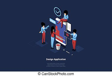 Group Of Business People Designing Application, Small Characters Standing Near Huge Smartphone And Working. 3D Vector Composition In Cartoon Isometric Style Of Mobile Development Concept With Writings