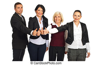 Group of business people give thumbs