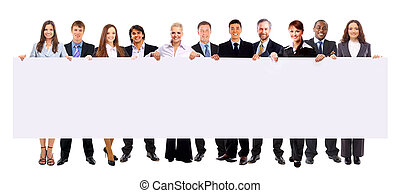 group of business people holding a banner ad isolated on...